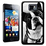 Fancy A Snuggle Boston Terrier Dog Design Hard Case Clip On Back Cover for Samsung Galaxy S2 i9100 - Black and White