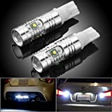 2x Aluminum 6000K Xenon White T10 T15 912 921 906 High Power Projector Lens SMD LED Bulb For Car Backup Reverse Light, Daytime Running Light, Parking, Door, Trunk Light