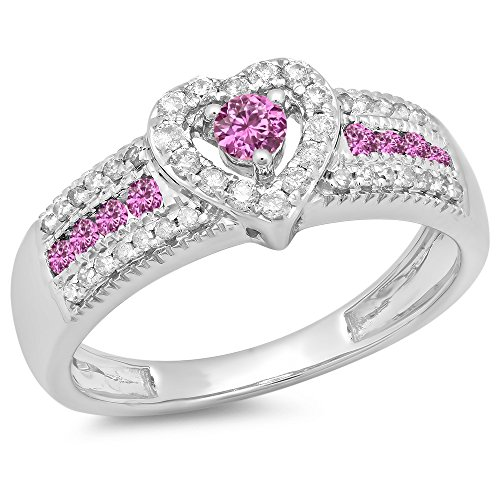 0.55 Carat (Ctw) 10K White Gold Pink Sapphire & White Diamond Bridal Engagement Ring 1/2 Ct (Size 10)