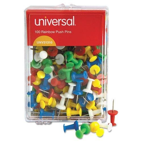 "Universal Colored Push Pins, Plastic, Rainbow, 3/8"""", 100/Pa"