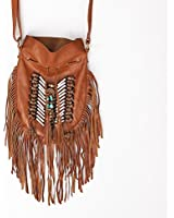 Boho Bag Round S | Real Leather | Fringe Purse | Bohemian Bags