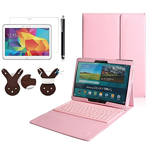 Boriyuan Tab S 10.5 Case With Keyboard, 3 In 1 Combo Ultra Slim Unremovable Undetachable Silicone Wireless Bluetooth Keyboard Leather Case Flip Folio Protective Pu Leather Stand Cover Carrying Shell For New 2014 Samsung Galaxy Tab S 10.5 Inch T800 T805 Ta