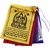 Buddha of Compassion Tibetan Prayer Flags From Nepal Set of 10 Flags