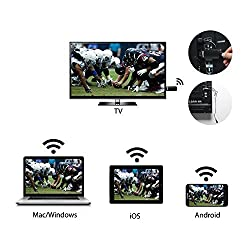 HDMI Streaming Media Player, GGMM® V-linker Wireless HDMI WiFi Display Dongle Share Videos, Photos, Docs, Live Camera, and Music from All Smart Devices to TV, Monitor or Projector. Supports DLNA & AirPlay,Black