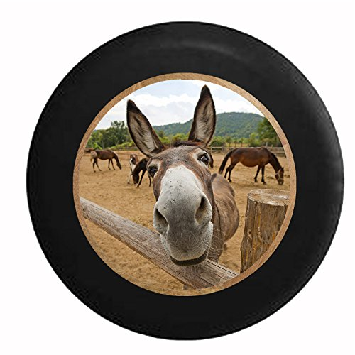 Full Color Curious Donkey Mule Horse Looking over Split Log Fence Jeep RV Camper Spare Tire Cover Black 29 in (Jeep Wrangler Safari Tire Cover compare prices)