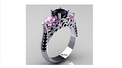 Solitaire 2.14ct Round Brilliant Cut Black Simulated Diamond Pink Sapphires 925 Sterling Silver Engagement Wedding Bridal Anniversary Ring,All Size available