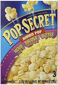 Pop Secret Jumbo Pop Movie Butter, Microwavable Popcorn, 3 -3.2 oz packs, 9.6-Ounce Box, (Pack of 6)