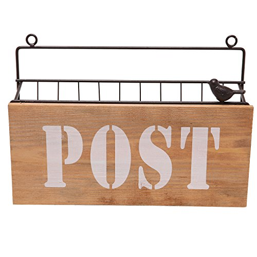 Wood Panel Sign ~ Rustic brown metal wire wall mounted quot post mail sorter