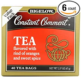 Bigelow Constant Comment Tea, 40-Count Boxes (Pack of 6)