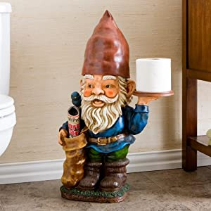 Gnome bathroom butler hand painted tissue holder for Bathroom butler toilet paper holder