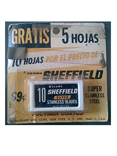 Sheffield Perma Super 10 Stainless Blades Polymer Coated Made in USA (Virgin Vintage Product) (Perma Sharp Super compare prices)