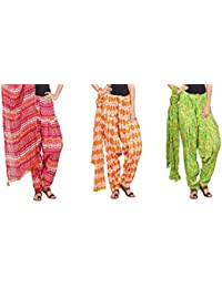 Rama Set Of 3 Printed Multicolor Cotton Full Patiala With Dupatta Set - B01N7N3IKQ