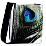 Snoogg peacock feather background Womens Carry Around Cross Body Tote Handbag Sling Bags
