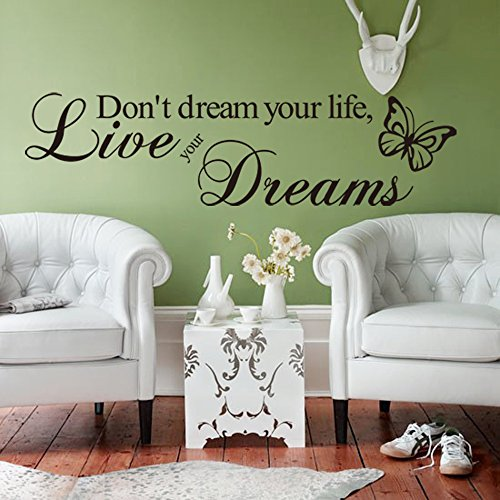 """ufengke® """"Don't Dream Your Life, Live Your Dreams"""" Citazioni di e Proverbi Adesivi Murali, Camera da Letto Soggiorno Adesivi da Parete Removibili/Stickers Murali/Decorazione Murale"""