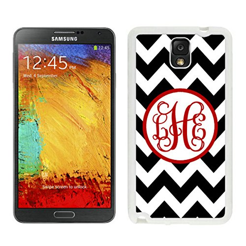 BINGO good review Personalized Black Chevron Red Monogra Samsung Galaxy Note 3 Case White Cover