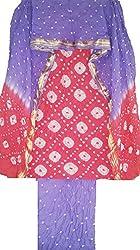 MS Bandhani Women's Cotton Silk Unstitched Dress Material (MSB_25-A,pink & parpal))