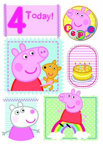 Peppa Pig - Age 4 Birthday Card With Badge -