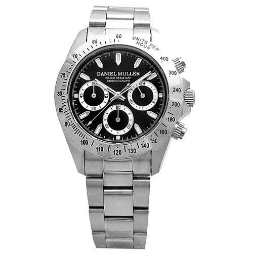 [ダニエル・ミューラー]DANIEL MULLER 腕時計 クロノグラフ メンズウォッチ DM-2003BK シルバー×ブラック メンズ