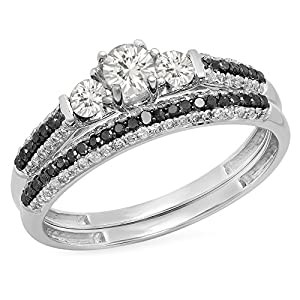 10K White Gold White Sapphire, Black & White Diamond 3 Stone Bridal Engagement Ring Set (Size 6.5)
