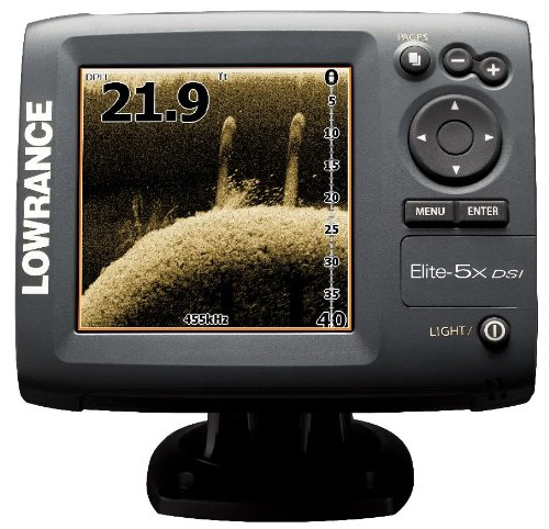 Lowrance 000-10235-001 Elite-5x DSI DownScan Imaging Fishfinder with 5-Inch Color LCD and 455/800 KHz Transom Mount Transducer