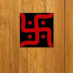 999Store doorhanging swastik red art printed wooden framed door sticker (4 x 4 inches)