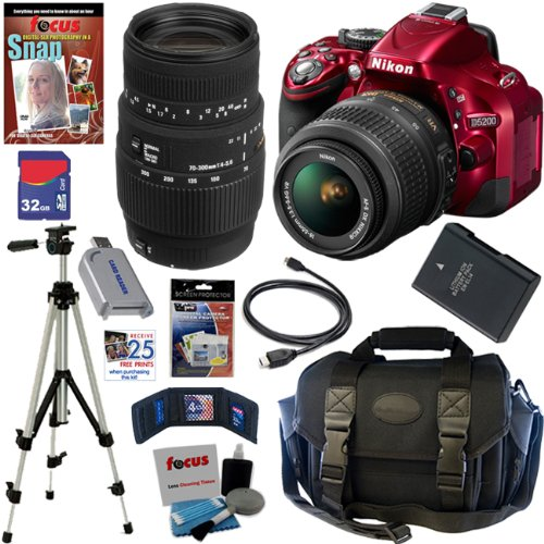 Nikon D5200 24.1 MP CMOS Digital SLR Camera  Red  with 18 55mm f/3.5 5.6G AF S DX VR Lens and Sigma 70 300mm f/4 5.6 SLD DG Macro