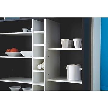 meyere 453195 piano meuble meuble bar avec 7 niches panneau de de particules blanc noir. Black Bedroom Furniture Sets. Home Design Ideas