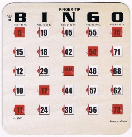 Regal Games 25 Woodgrain / Tan Fingertip Shutter Slide Bingo Cards