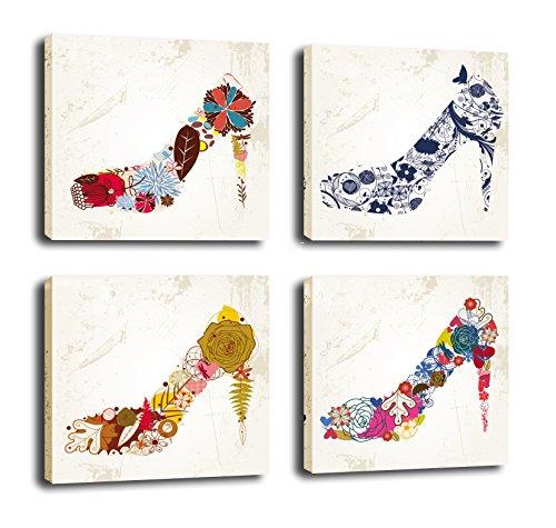 FASKUNOIECanvas Wall Art Fashion Lady Shoe Store Wall Decor Art High Heel Shoes Canvas Prints Unique Design 4Pcs/Sets (Pictures Of High Heels compare prices)