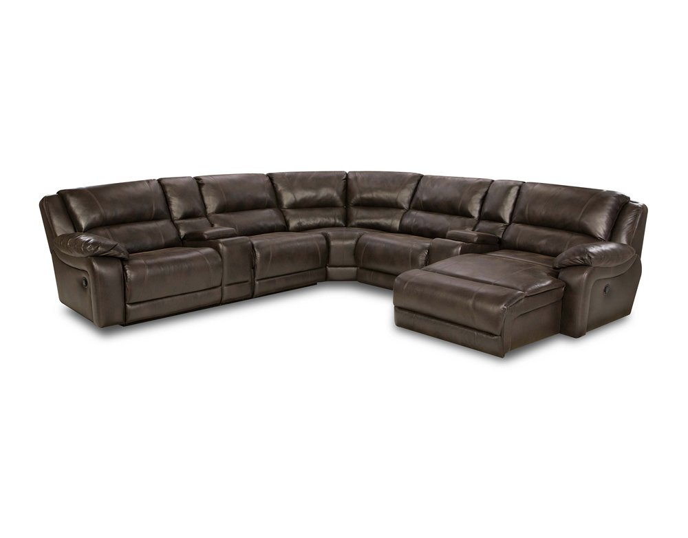 Simmons 50660 blackjack brown leather sectional sofa recliner theater cup holder Loveseat with cup holders