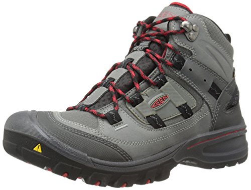 KEEN Men's Logan Mid Hiking Boot, Magnet/Racing Red, 11 M US