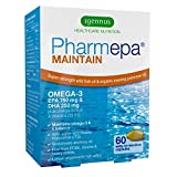 Pharmepa MAINTAIN Omega-3 EPA & DHA Fish Oil 1000 mg Super Strength Dose, 80% concentration, pharmaceutical-grade wild fish oil & organic evening primrose oil with vitamin D for heart health, brain function, mood balance and vision, 60 capsules