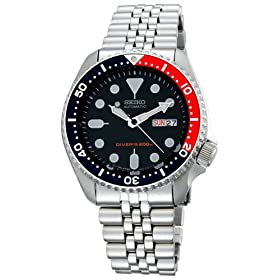 Seiko Men's Automatic Dive Silver-Tone Watch #SKX175