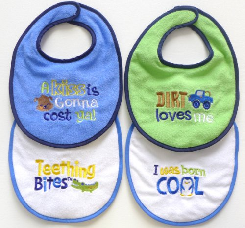 Neat Solutions Attitude Sayings Bib Set, Boy, 4-Count front-1077294