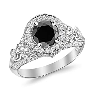 2.3 Carat Round Diamond Engagement Ring 14K White Gold Vintage Halo Style 14K White Gold with a 1.5 Carat Round Cut AAA Quality Black Diamond (Heirloom Quality)