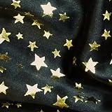 Black Satin Fabric with Gold Foil Stars Per Metre