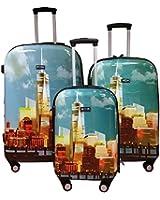Kemyer, Hard Shell Wheeled Spinner, 3 Piece, Luggage Set