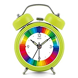 3 inches Non-ticking Silent Quartz Bedside Twin Bell Alarm Clock with Nightlight and Noctilucent Pointer, 9012050mm, grass green