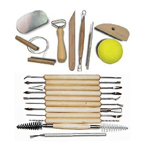 GenLed 19-Piece Pottery Clay Sculpture Carving Tool Set