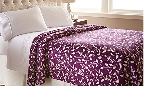 Elegant Comfort® Ultra Super Soft Leaf Pattern Design Luxurious Queen Size Blanket, Purple/Ivory front-1003879