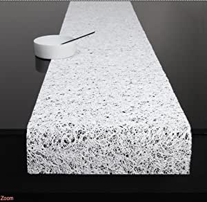 Amazon Com Chilewich Spun Vinyl Table Runner White