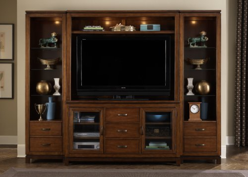 Cheap LIBERTY SHADOW VALLEY ENTERTAINMENT TV STAND WITH HUTCH & 2 PIERS MOCHA NEW 4PC (373-ENTW)