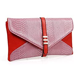 BMC Womens Rose Pink on Red Two-Toned PU Faux Leather Snakeskin Animal Pattern Envelope Flap Clutch Fashion Handbag