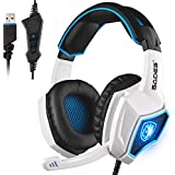 2016 Newest SADES Spirit Wolf USB Gaming Headset With Vibration Microphone Over-the-Ear Noise Isolating Volume...