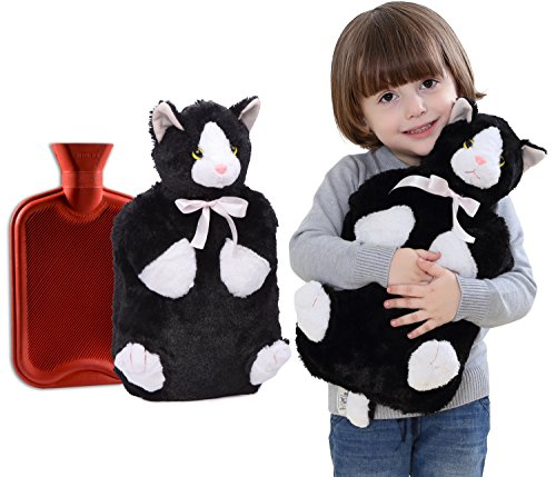 Peter Pan Adorable Plush Cat 2-liter Hot Water Bottle & Cover,made with High-quality Non-allergenic Fabric That Allows for Rapid Heat Transfer to Soothe Aches and Pains (Hot Water Foot Warmer compare prices)
