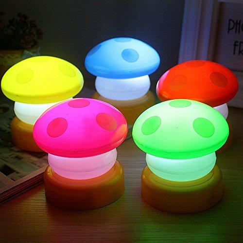 Eqnity® LED Fashion Small Mushroom Pat Lights Mini Mushroom Night Lamp Small LED Light Desk Bedroom Reading Lamps Night Light 5 PCS