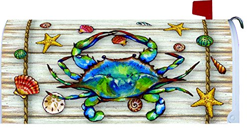 """ Blue Crab Welcome "" -Mailbox Makover Cover - Vinyl With Magnetic Strips"