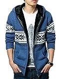 (ベクー)Bekoo メンズ ジップ ニット カーディガン パーカー フード 付き カウチン セーター (27 青花 XXL)