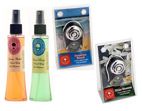 Aromatree Air Fresheners (Jasmine Absolute 75 ml, Ocean Breeze 75 ml, Hawaiian Beach 10 ml, White blossom 10 ml) PACK OF 4