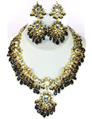 Exotic India Kundan Necklace Set With Black Beads - Copper Alloy With Cut Glass